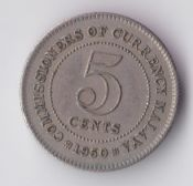 Malaya, George VI, 5 cents 1950, VF, WB2839